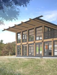 sketch up 3d rendering of modern timber house exterior