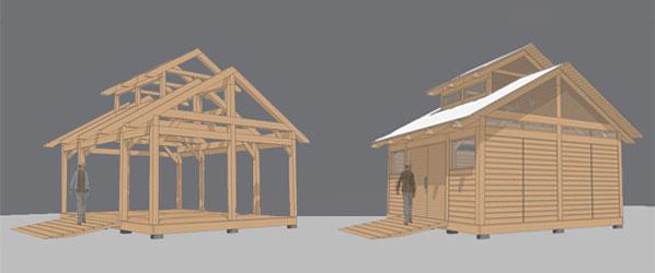 sketch up 3d rending of timber framed structure