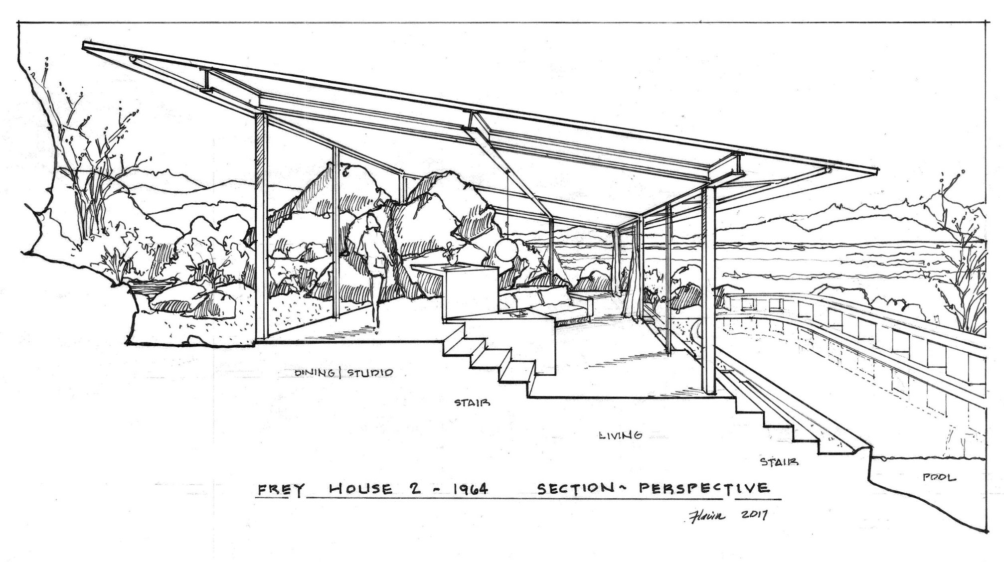 hand drawing sketch of section of home