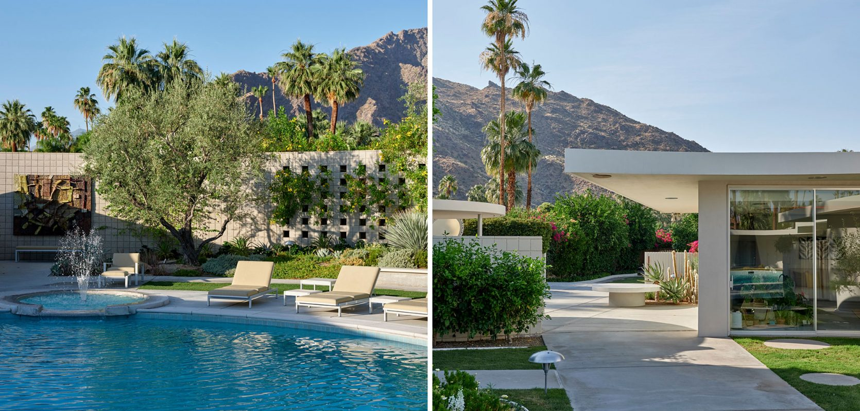 diptych: (left) lounge chairs along inground pool with trees and mountains in the background; (right) concrete walkway with cantilevered roof to backyard