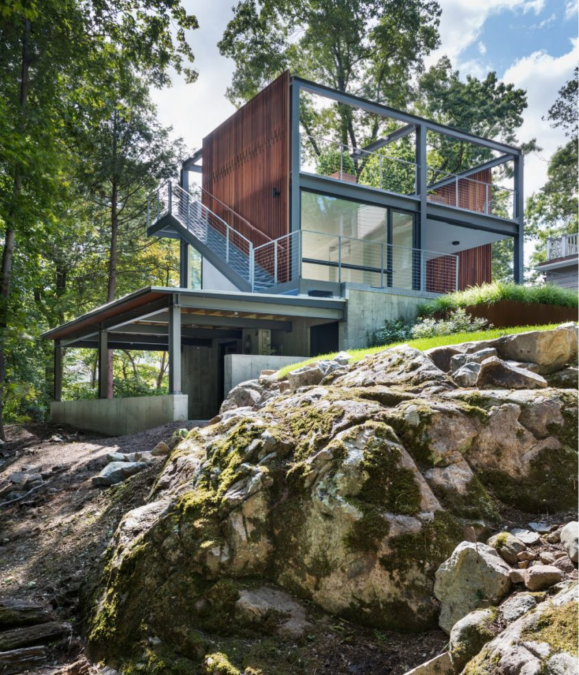 new england rock ledge with 3-story garden folley studio