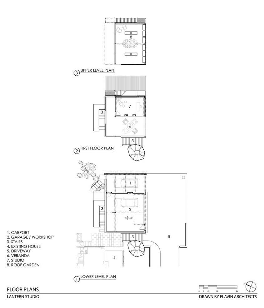 cad drawing floor plan 3-story studio and garage