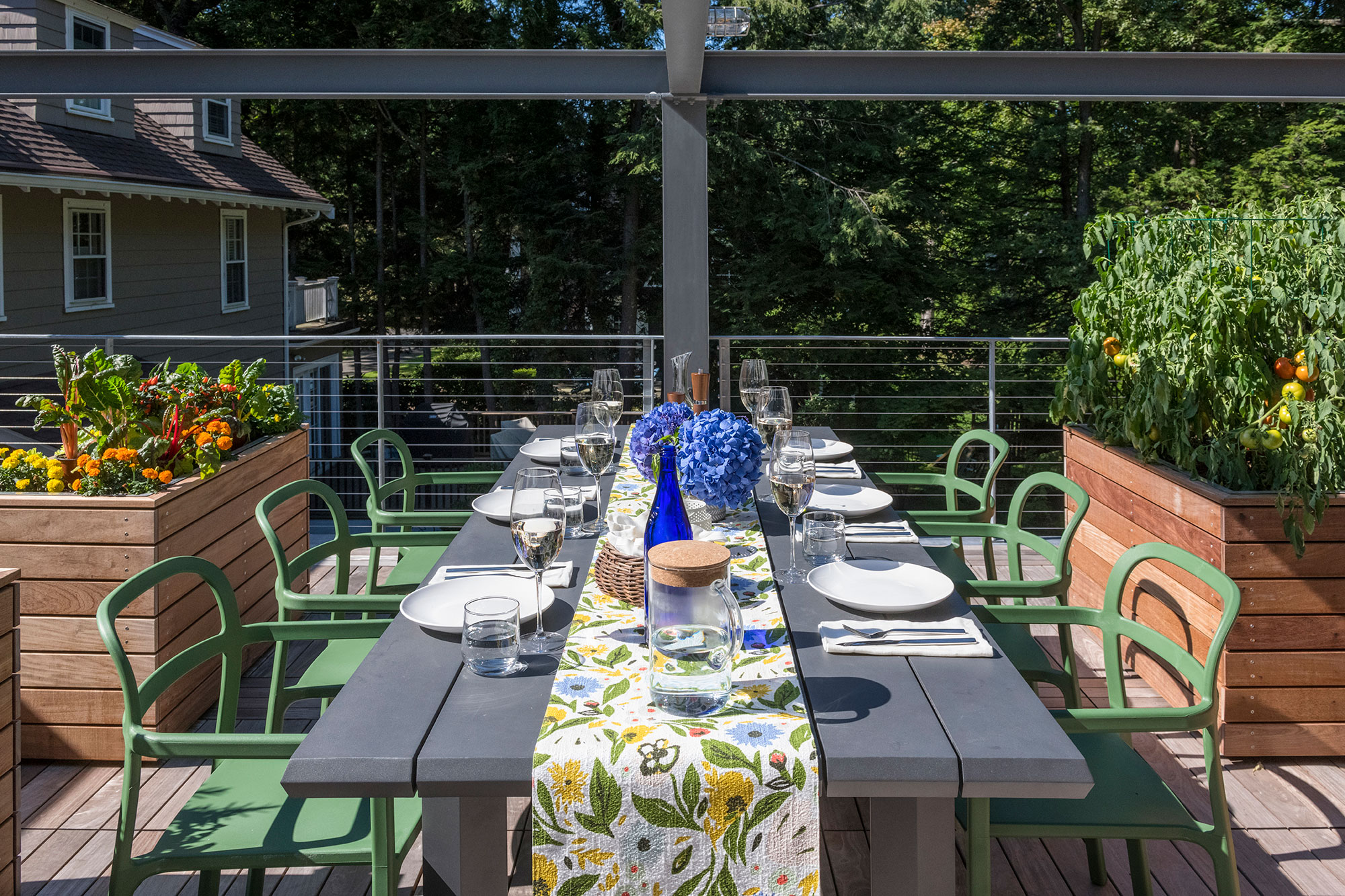 rooftop farm to table dining setup