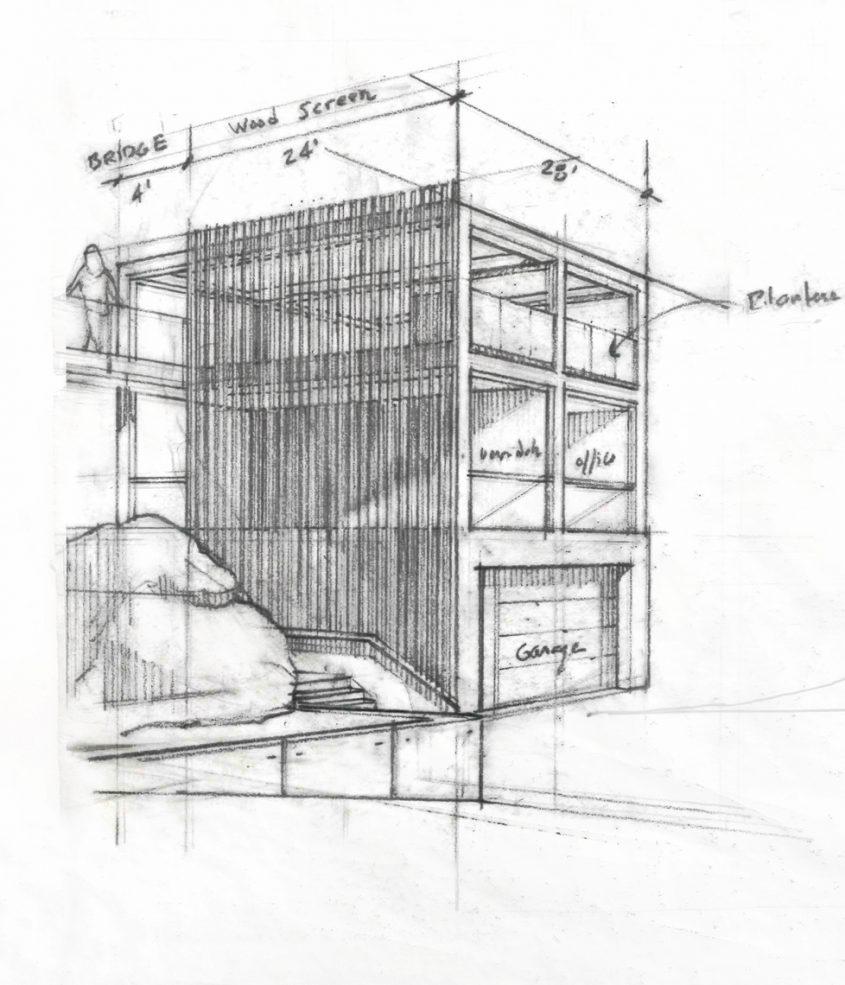 hand drawing sketch of 3-story studio garage