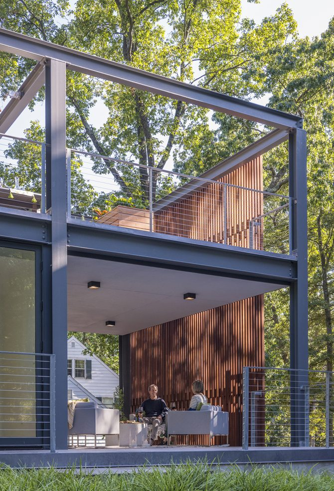 open-air veranda and rooftop with privacy wood screen
