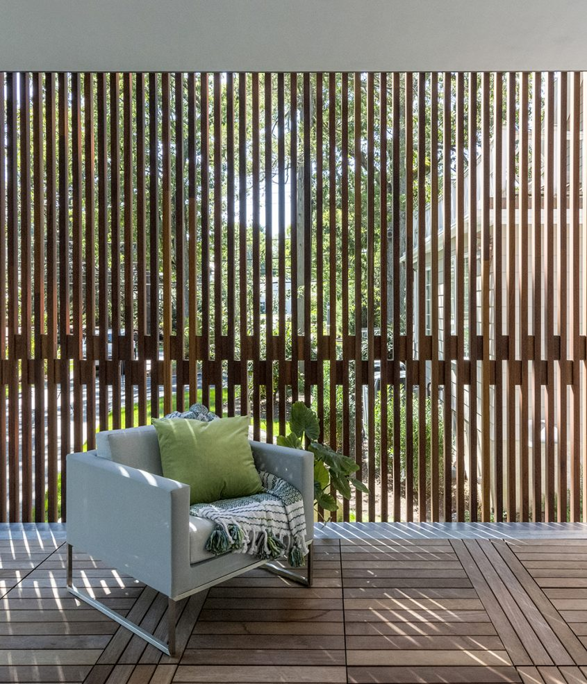 dappled lighting through privacy wood screen