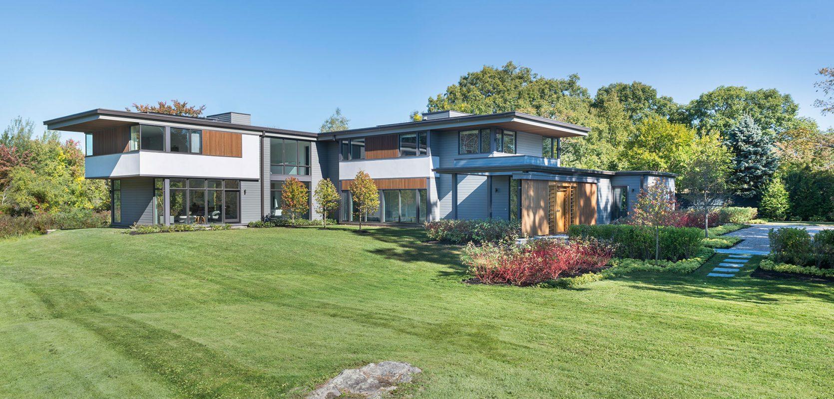 modern house on blueberry farm