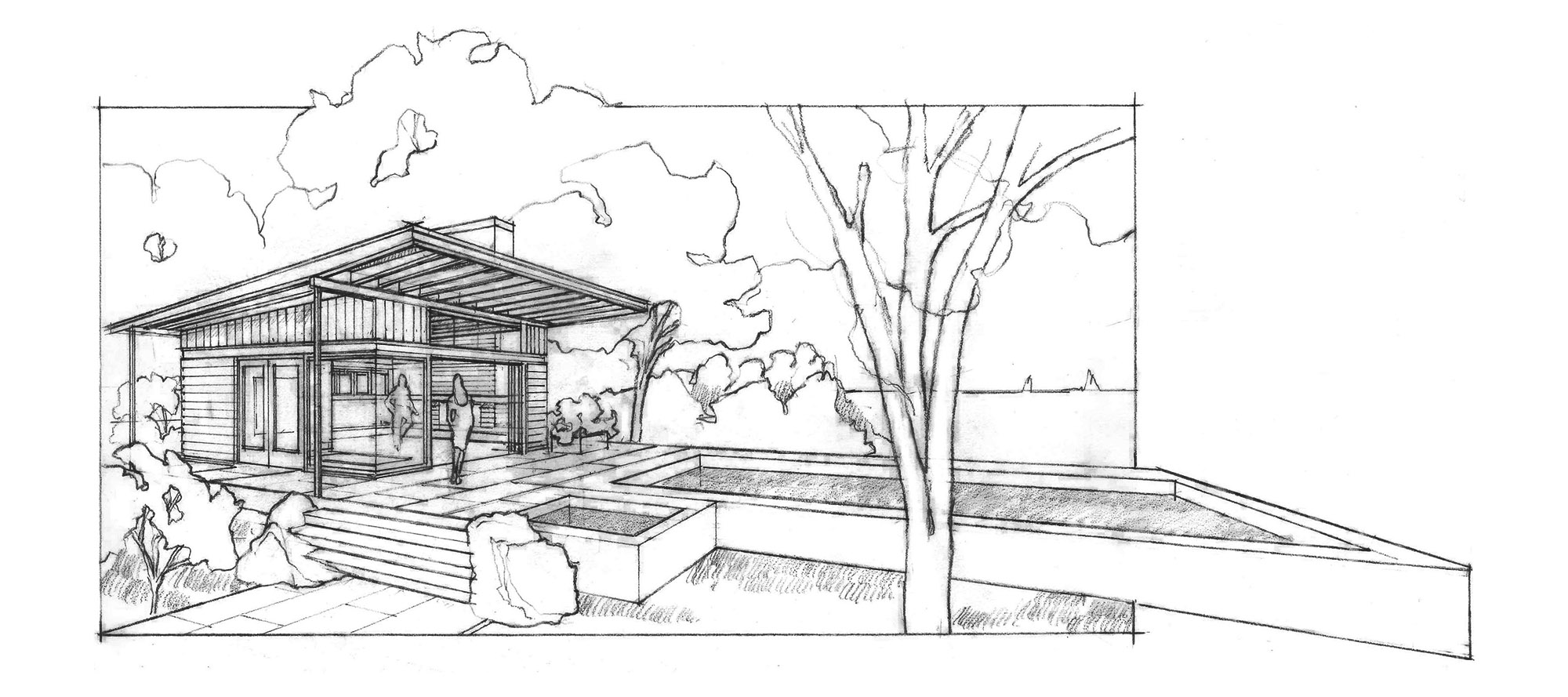 hand drawing sketch of pool house cabana