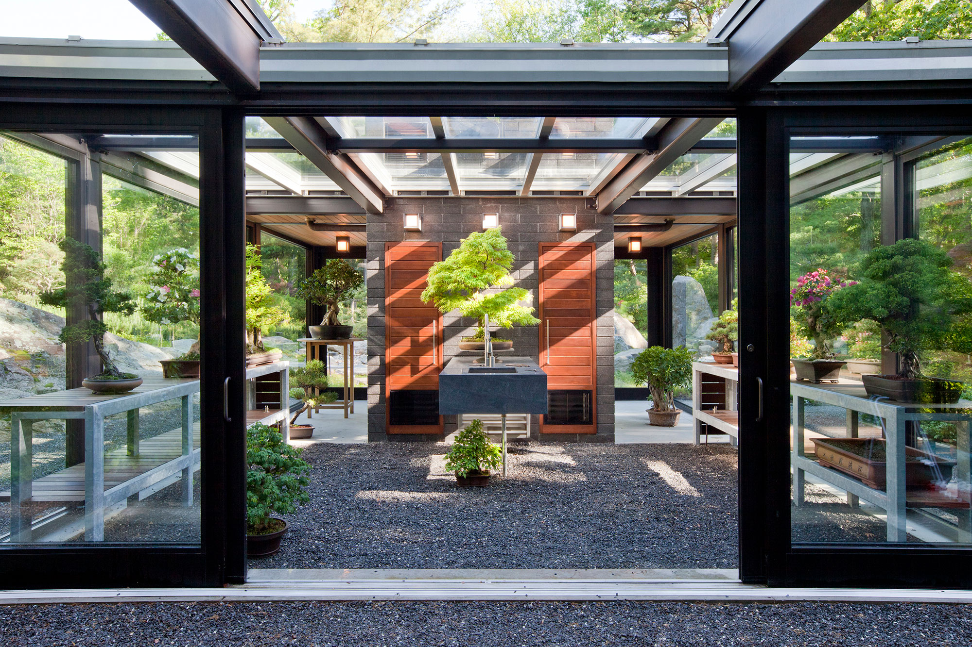 entry to glass and steel bonsai green house