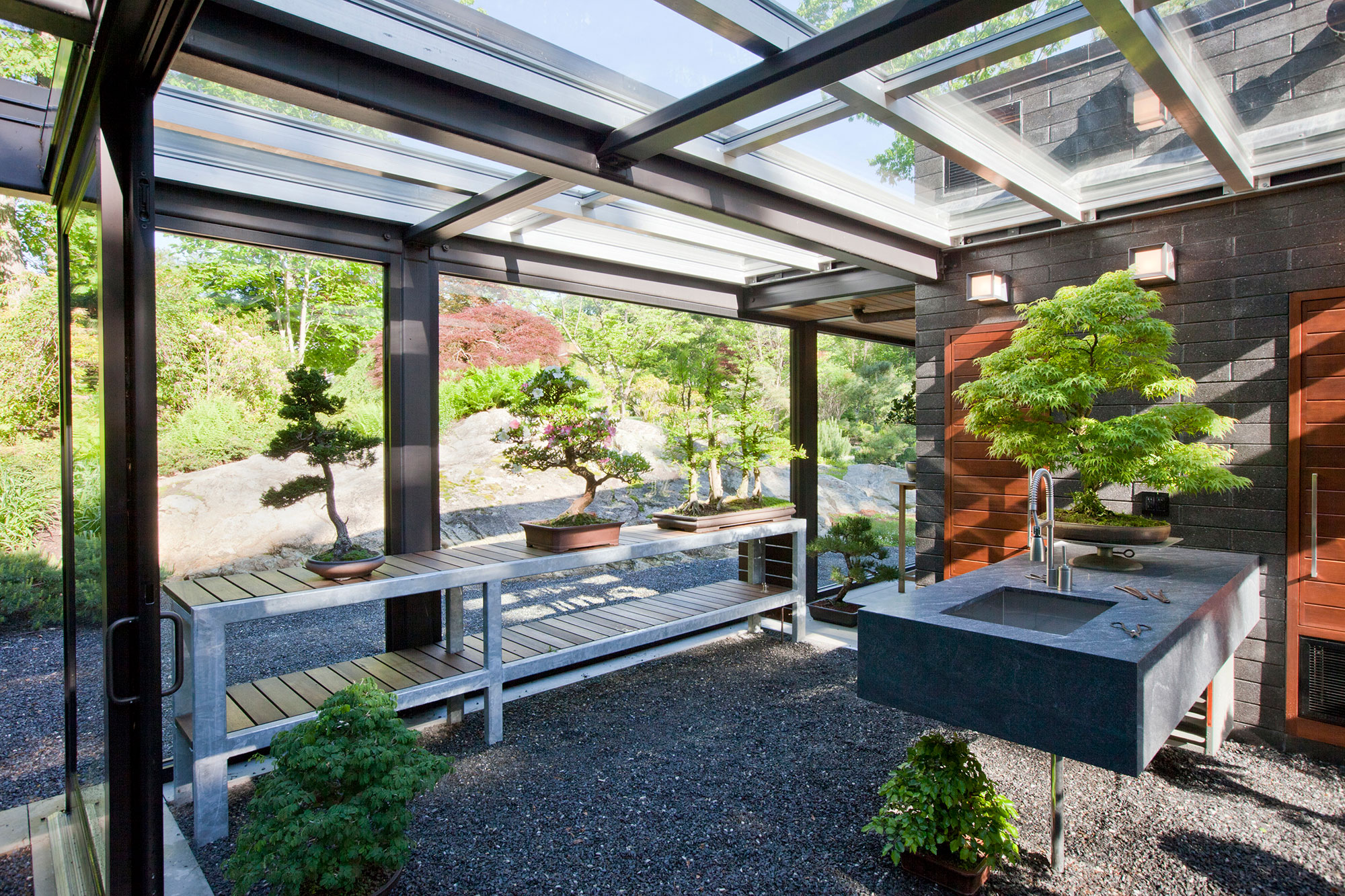 bonsai greenhouse with glass roof