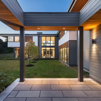 entry courtyard of 2-story modern home