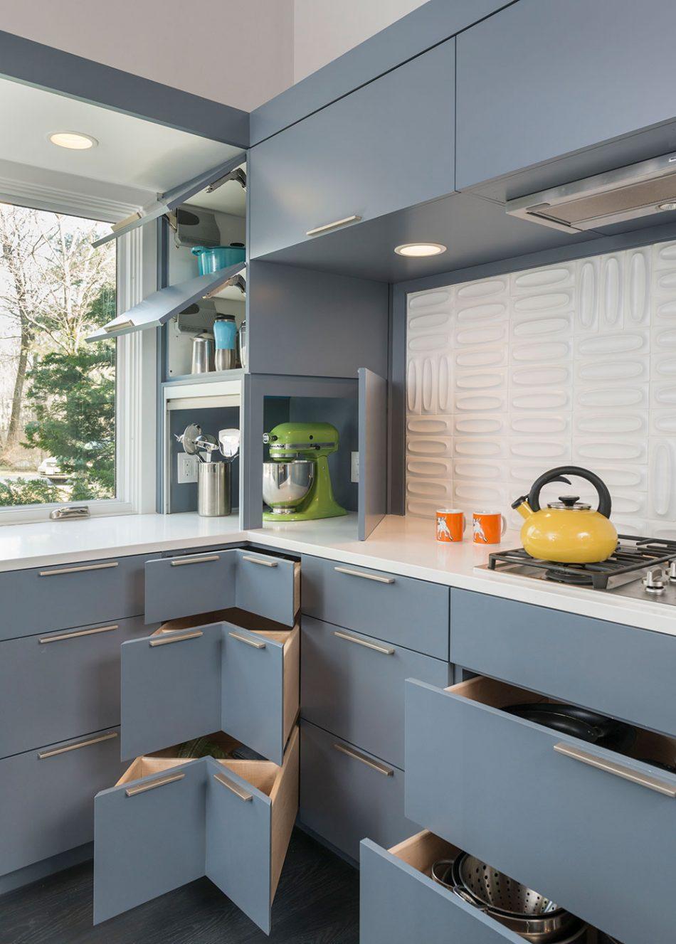 mid-century modern kitchen storage custom corner drawers