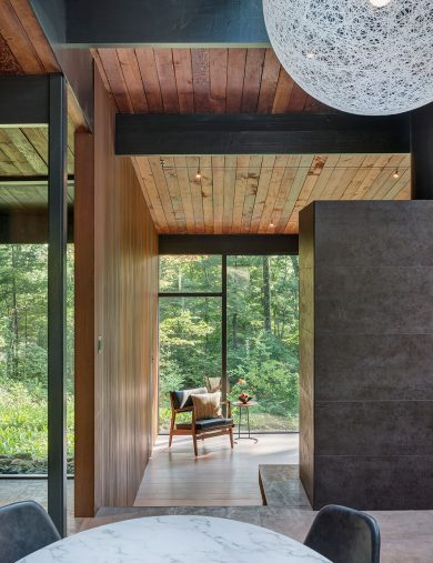mid-century modern interior with wood ceiling