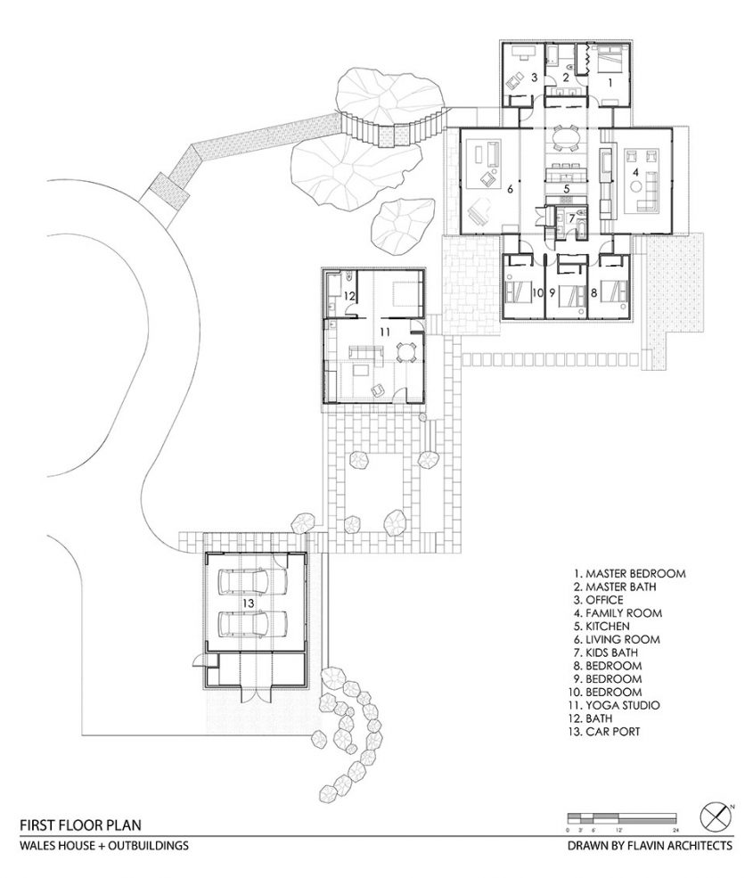 mid-century modern cad drawing floor plan with outbuildings