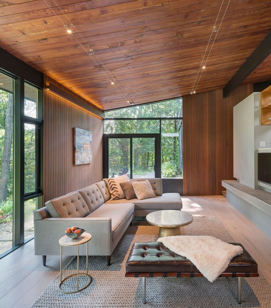 mid-century modern furnished family room with wood ceiling