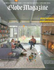 boston globe magazine cover of mid-century modern family room interior