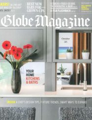 boston globe magazine cover with floating kitchen detail looking through