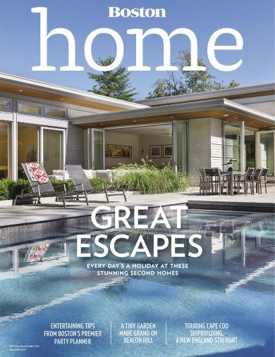 boston home magazine cover of swimming pool and rear exterior of modern home