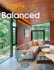 atomic ranch editorial with mid-century modern living room and wood ceiling