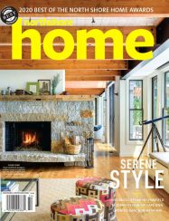 northshore home magazine cover with exposed timber beams and natural stone fireplace