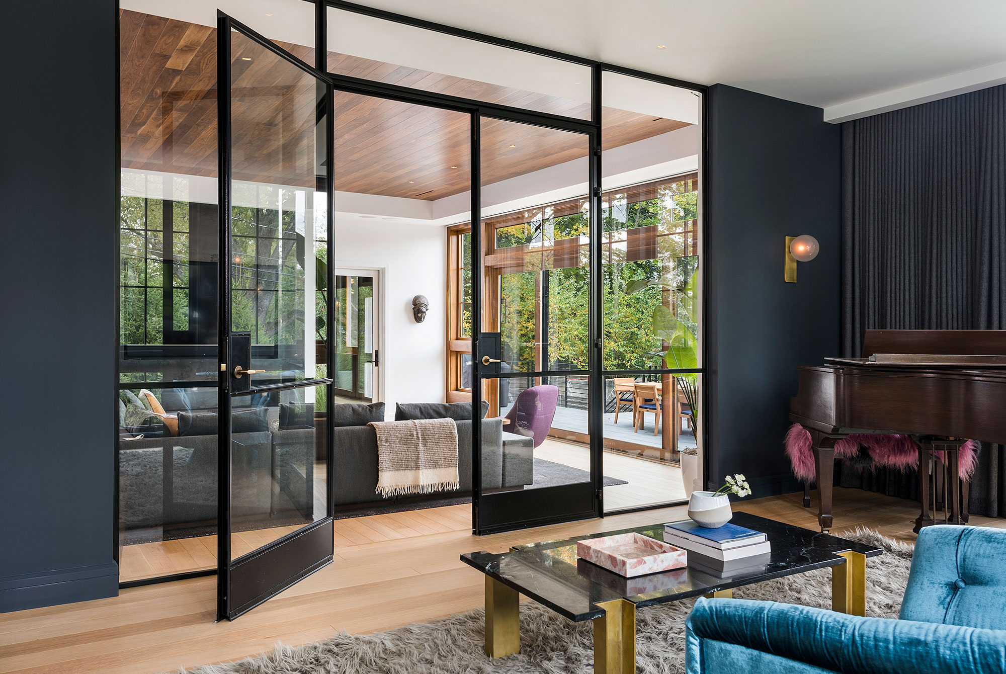 modern french doors between living and family rooms