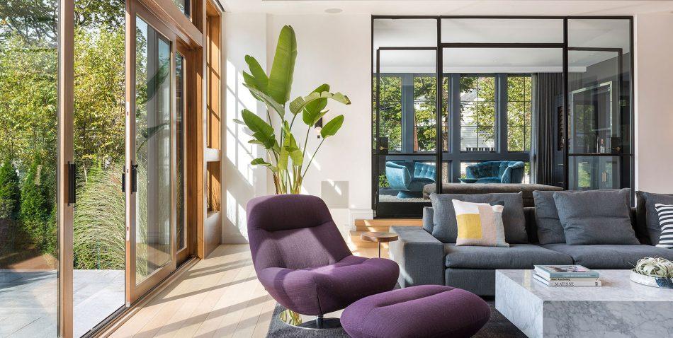 modern family room interior with manarola armchair