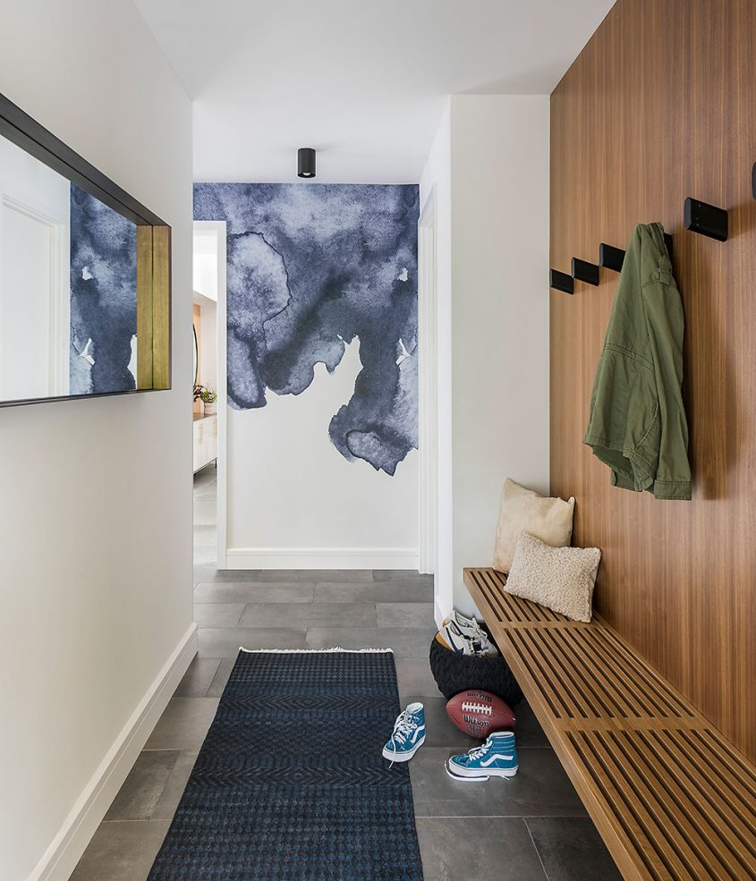 interior mudroom with built-in bench