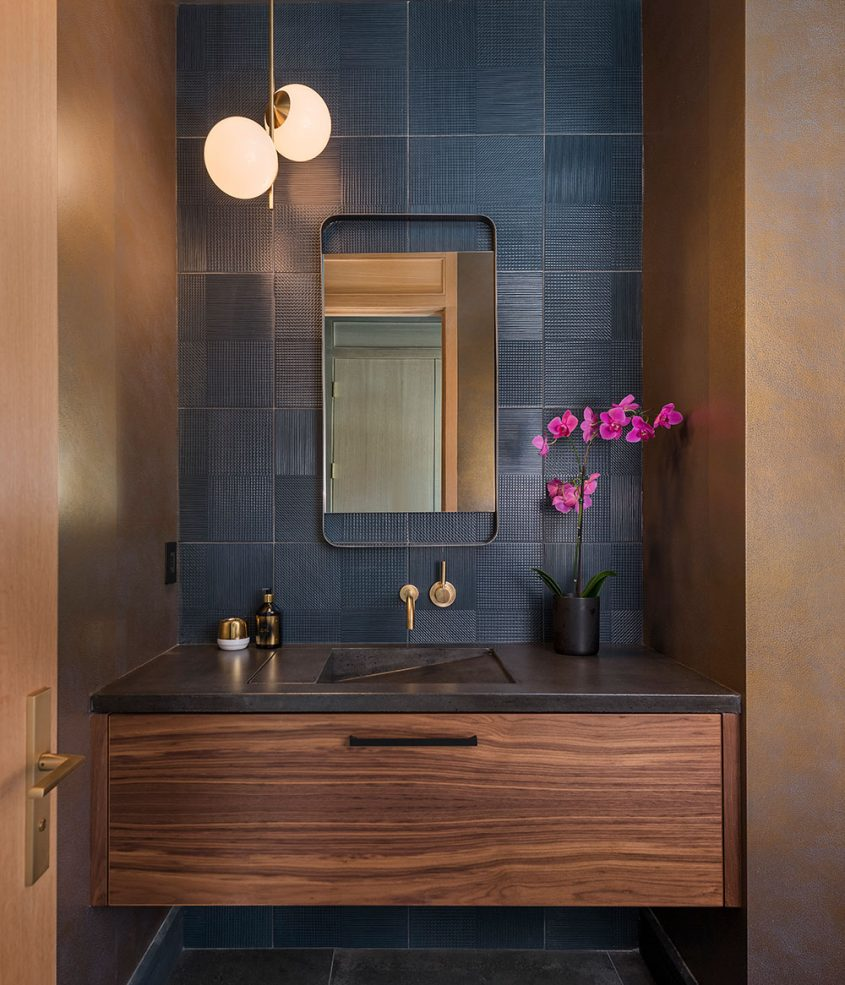 modern powder room with floating vanity