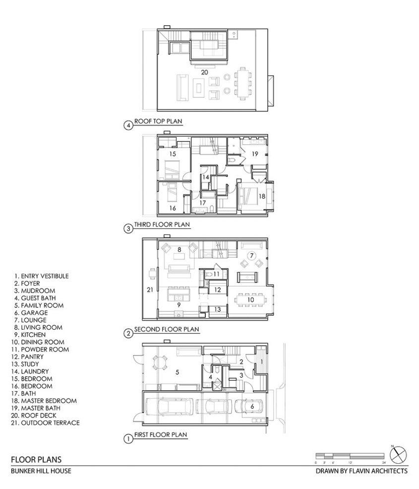 cad drawing floor plan of four floor row house