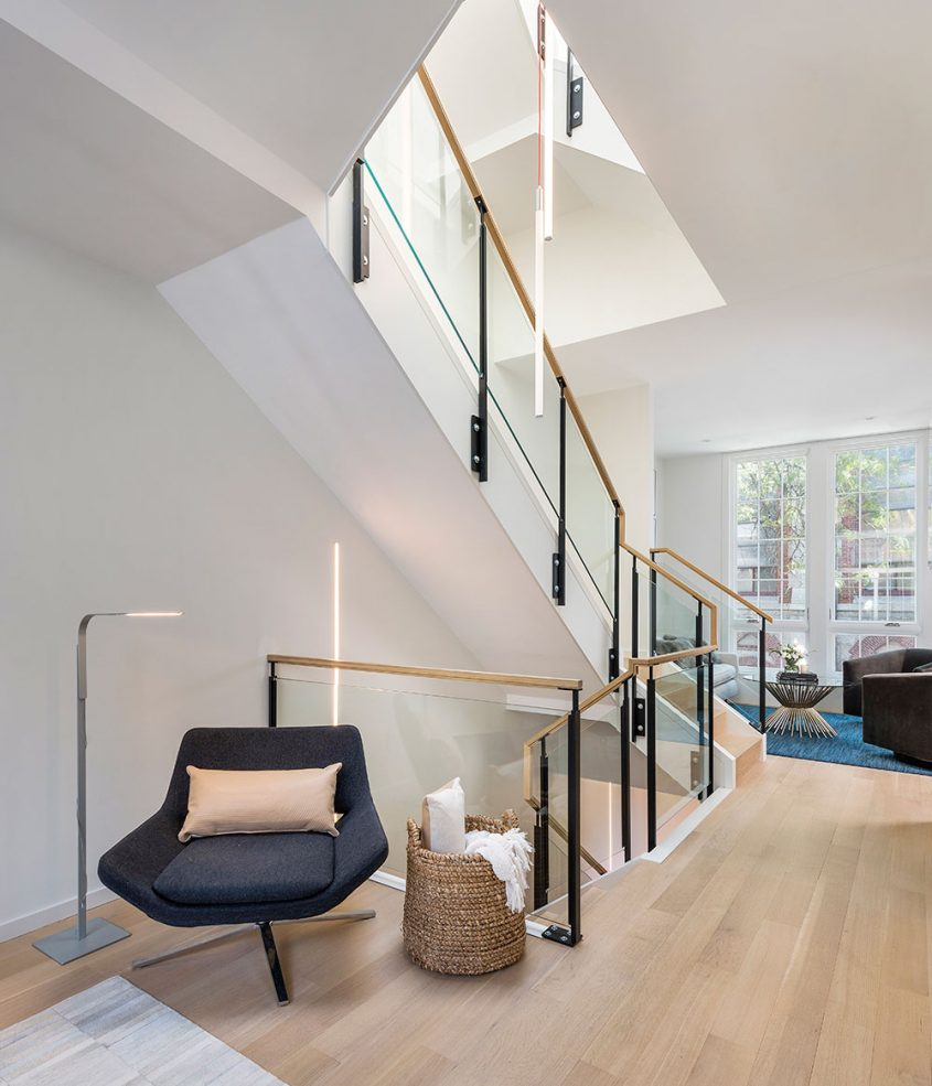modern steel glass and wood staircase with led lighting