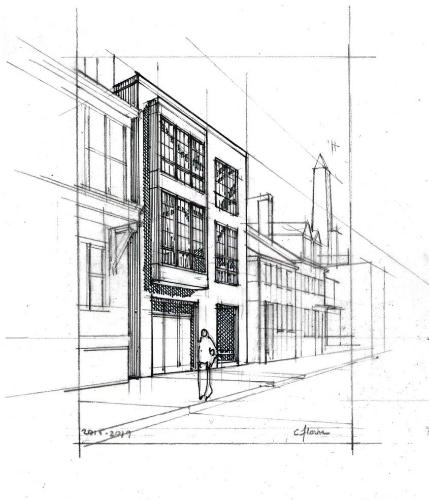 hand drawing sketch of exterior row house