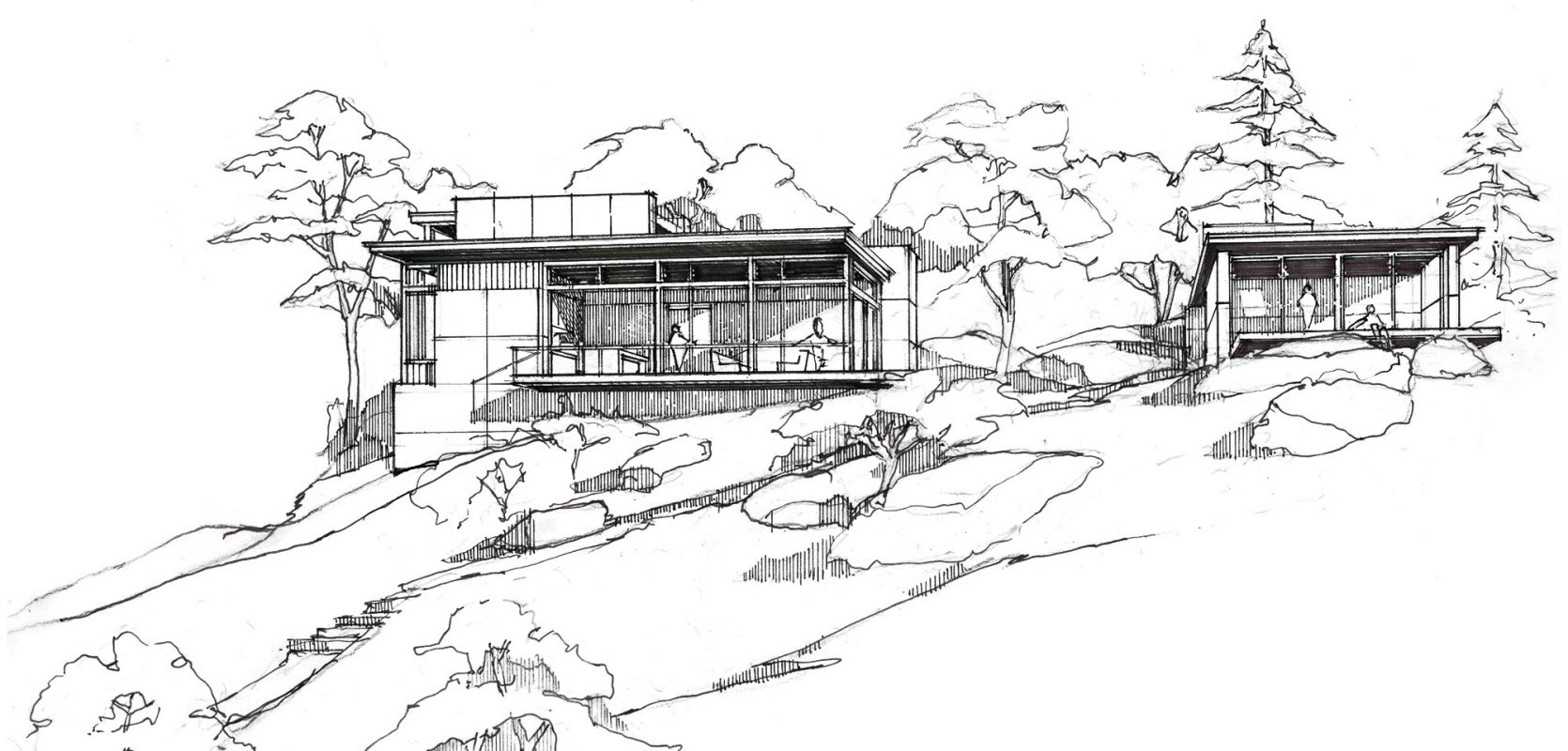 hand drawing sketch of home and studio exterior on ledge