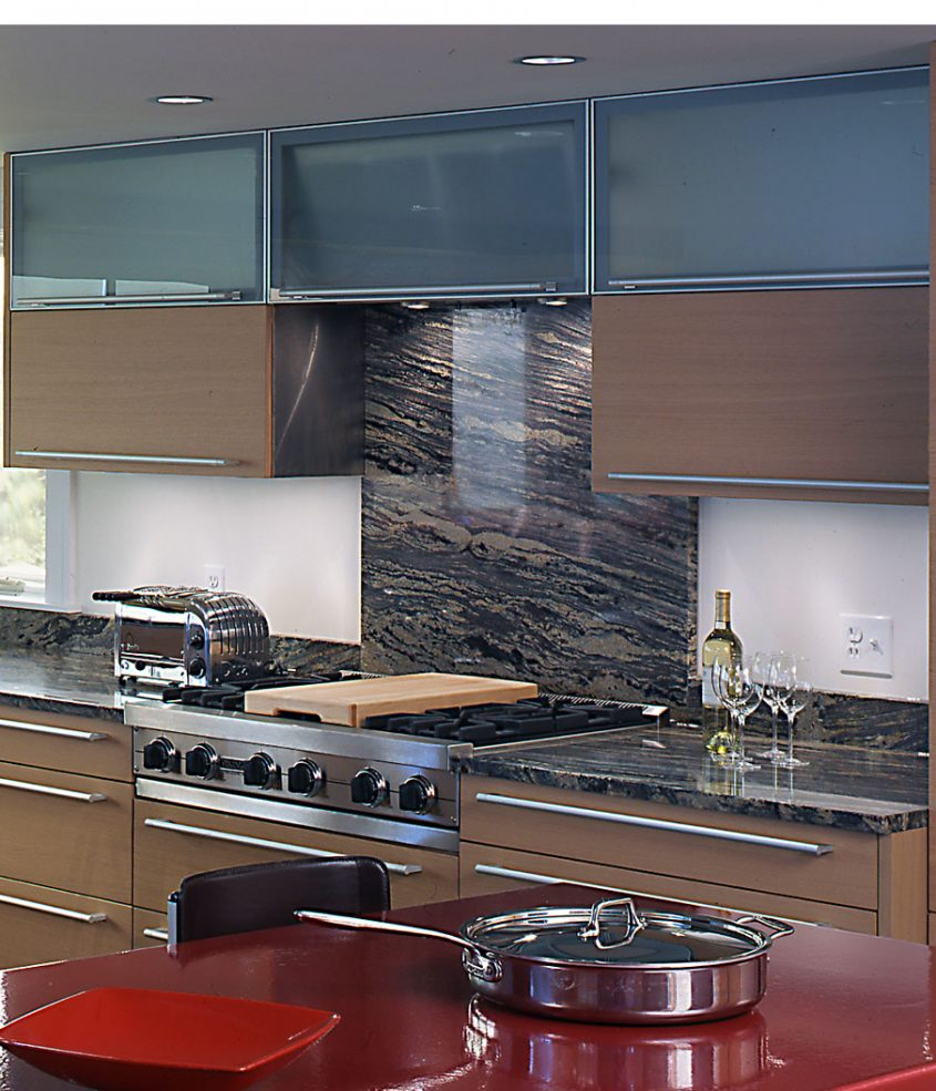 interior view of kitchen cooktop and cabinets
