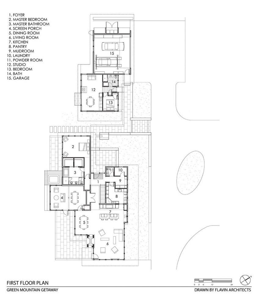 cad drawing floor plan with guest studio