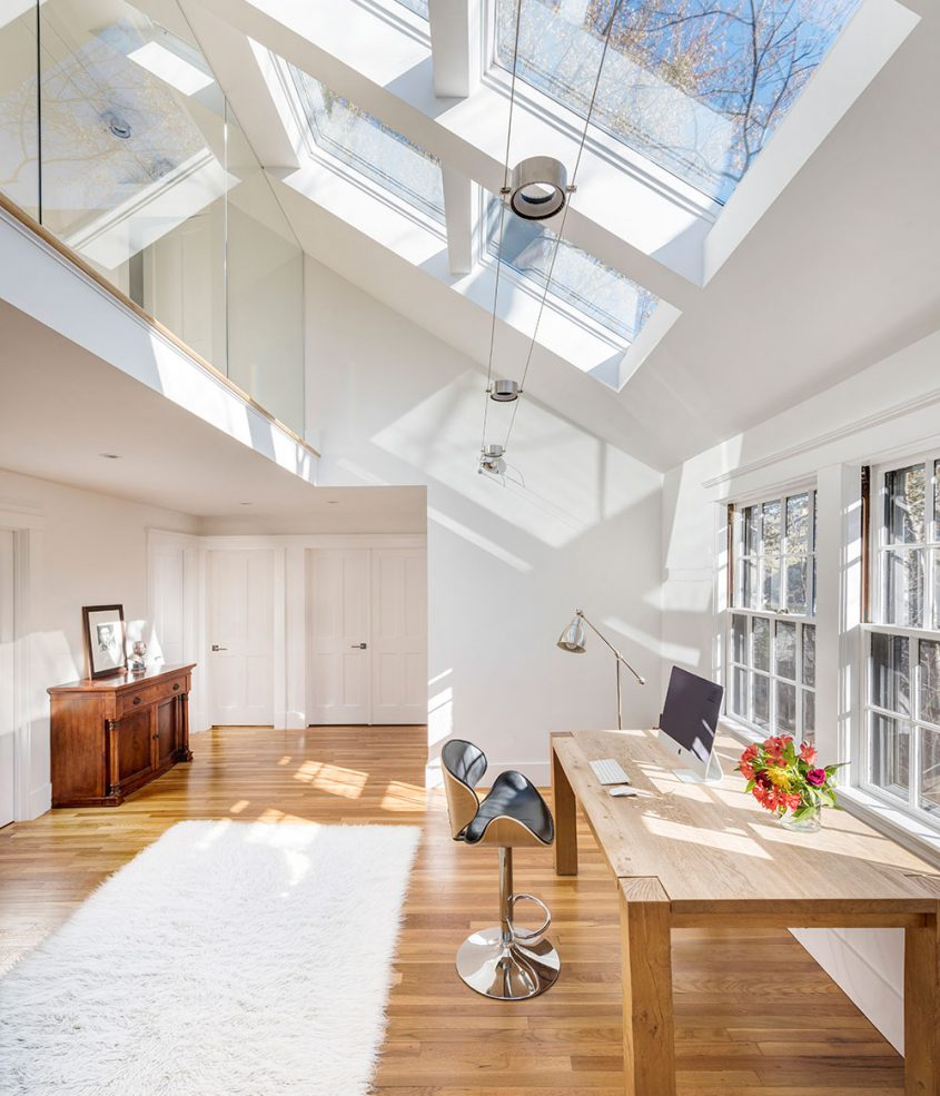 home office with skylights overhead