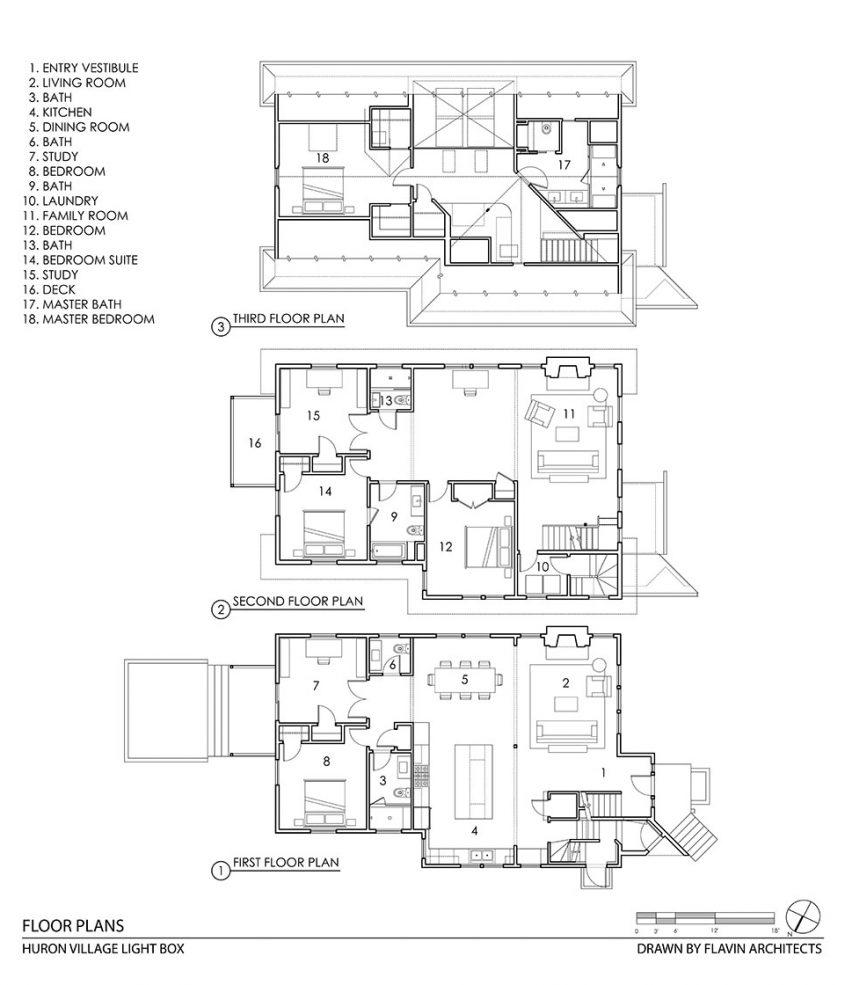 cad drawing floor plan of three floors