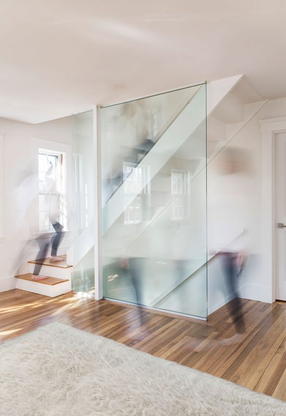 timelapse steel staircase with glass wall railing