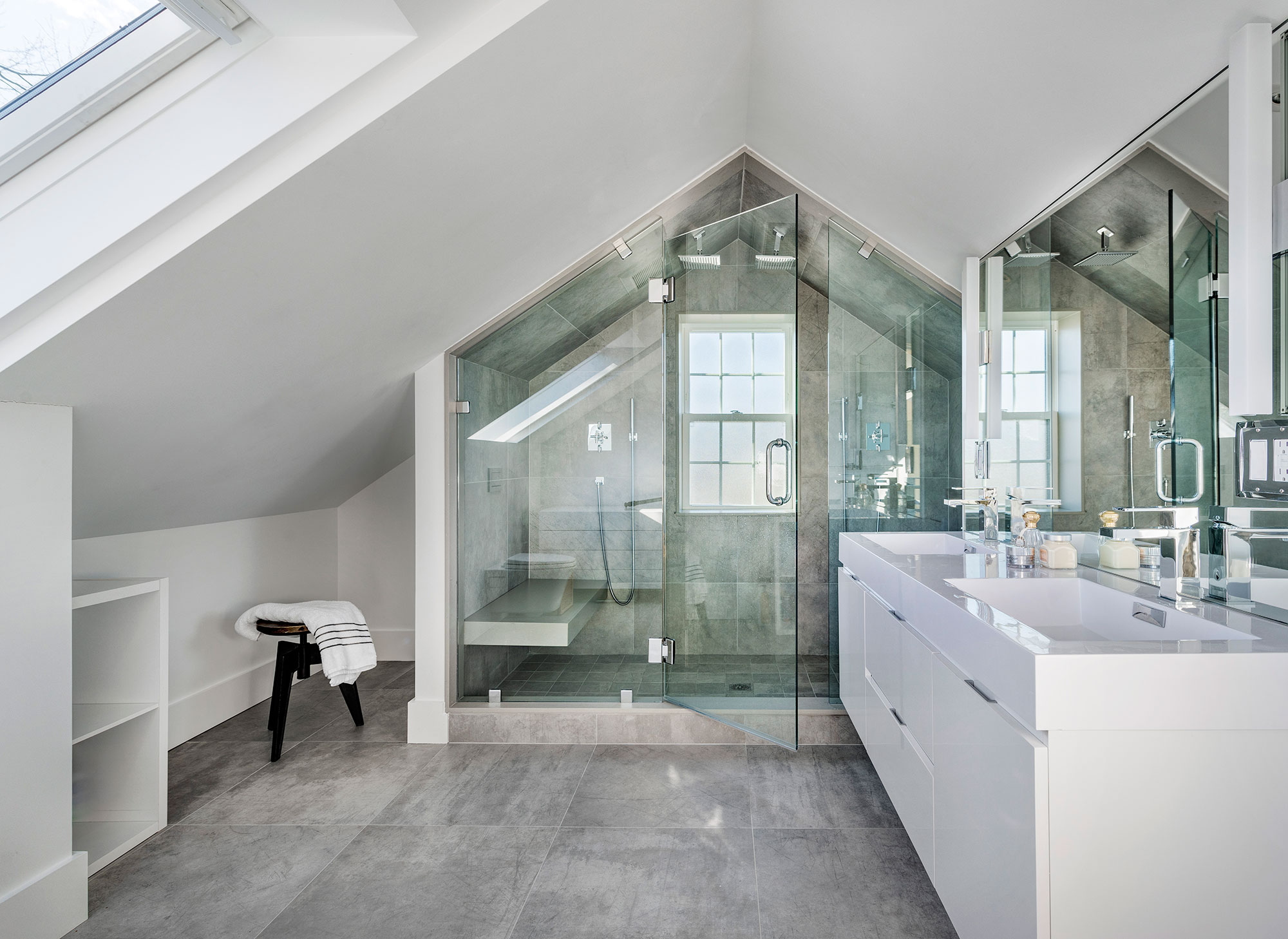 master bath with glass shower enclosure