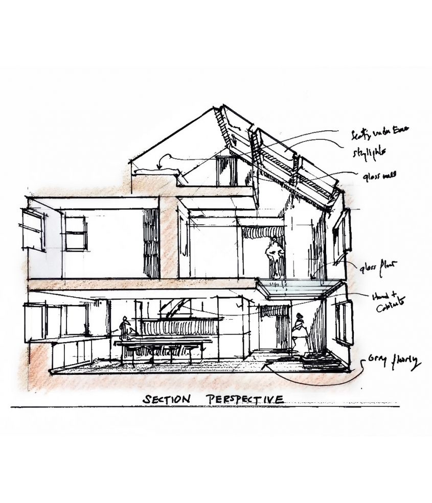 hand drawing sketch of section of three-story home