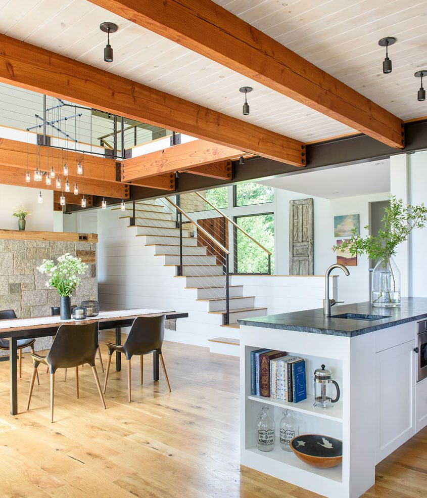 interior of kitchen dining room with exposed timber beams