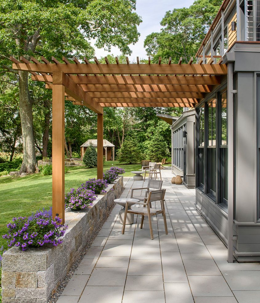 home exterior wood trellis over patio