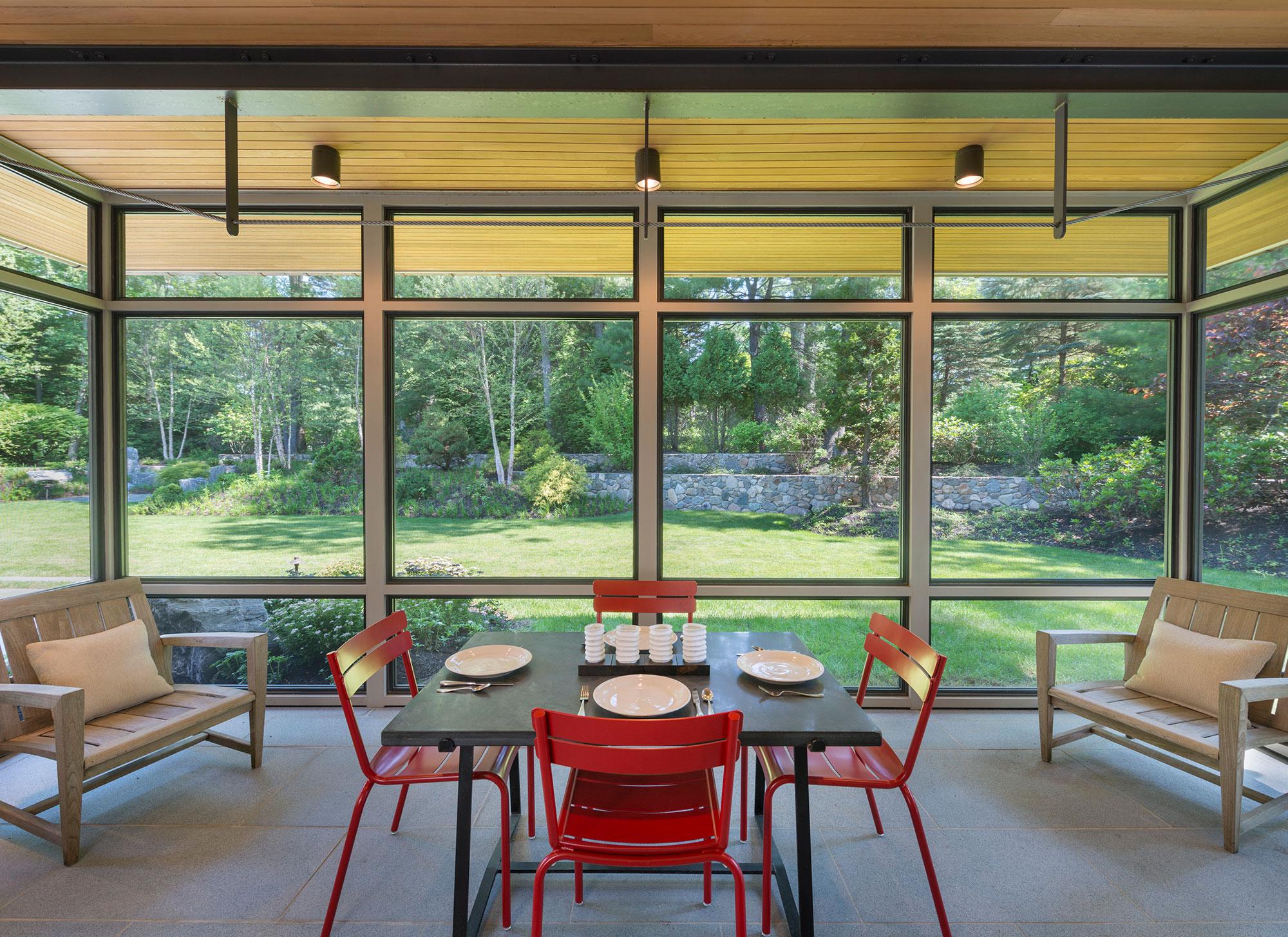 table setting screen porch interior