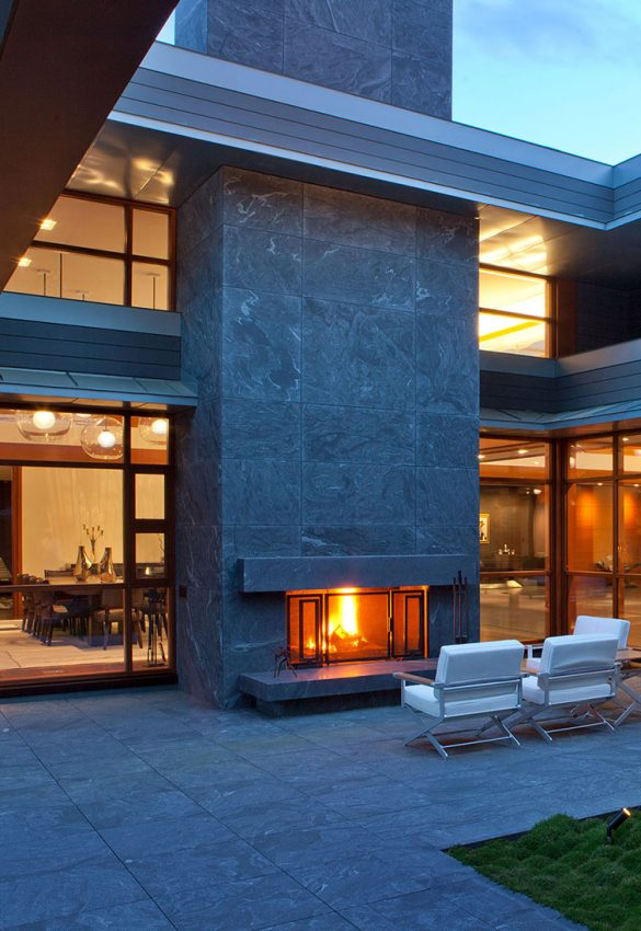 large exterior fireplace on terrace