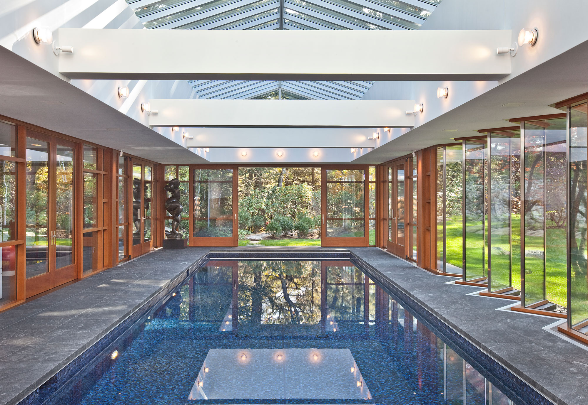 indoor swimming pool surrounded by glass