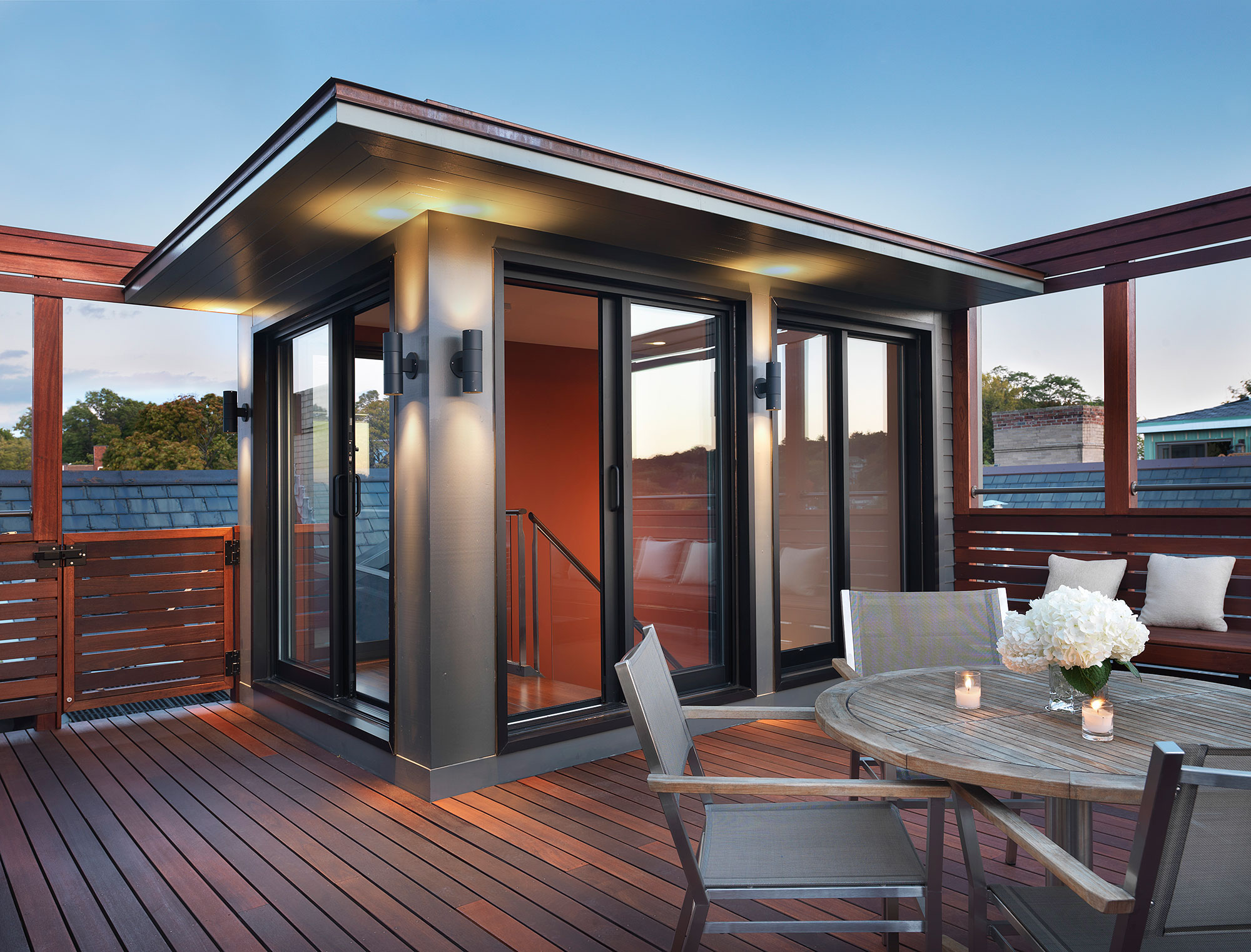 modern roof top headhouse with seating