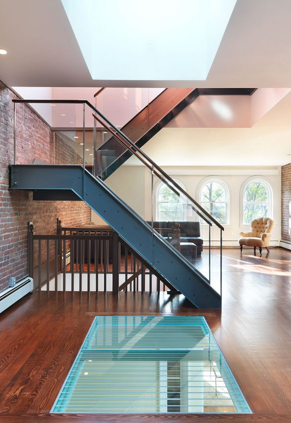 interior with steel staircase and glass floor window