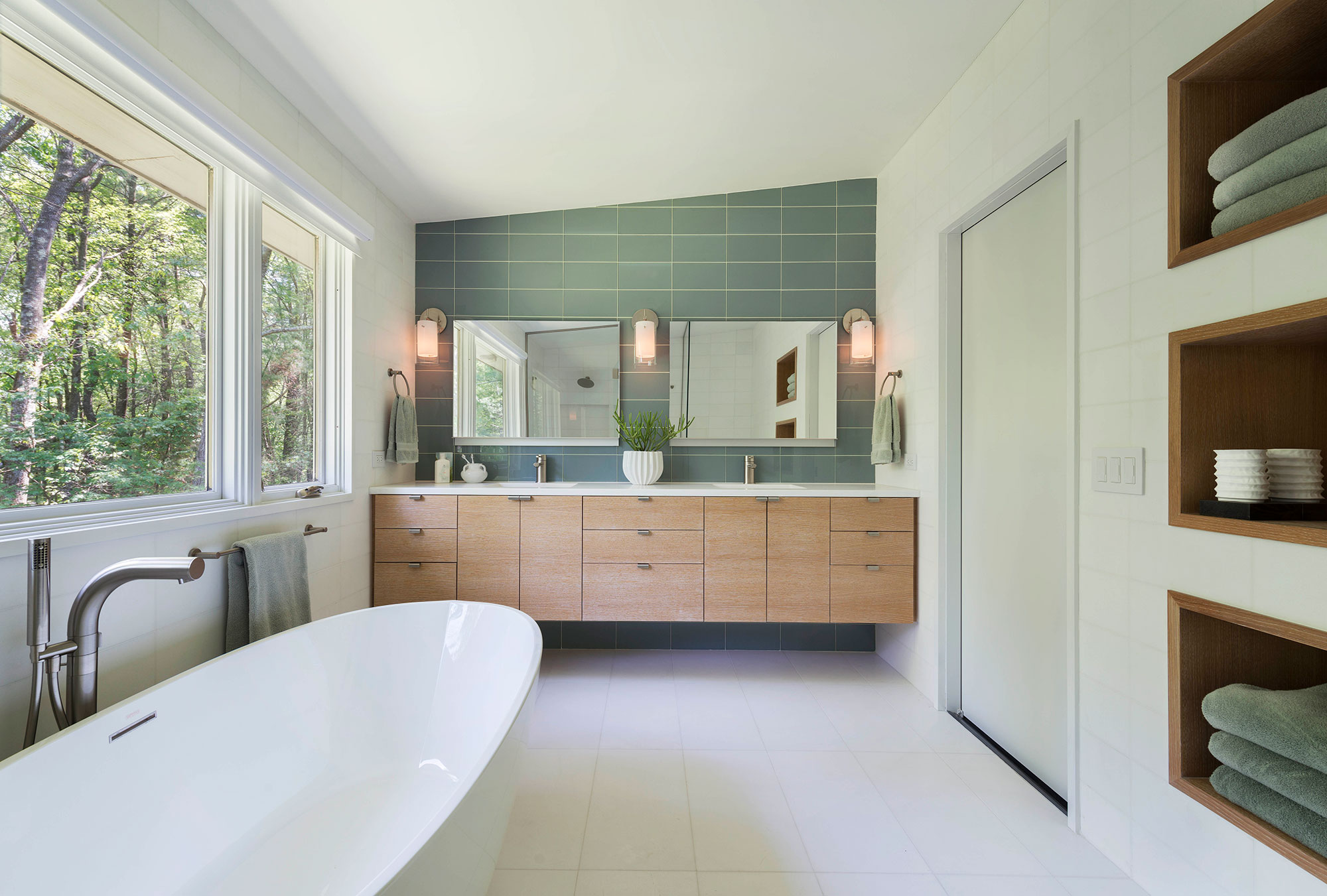 modern master bath with floating double vanity