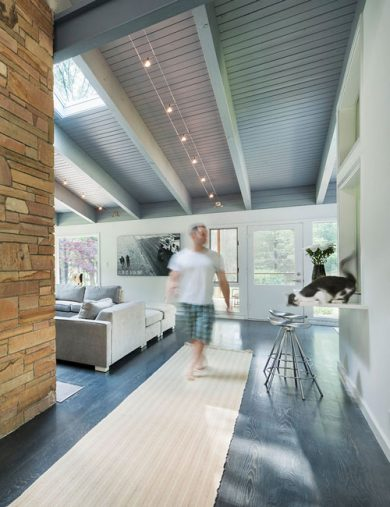 exposed beam mid-century modern