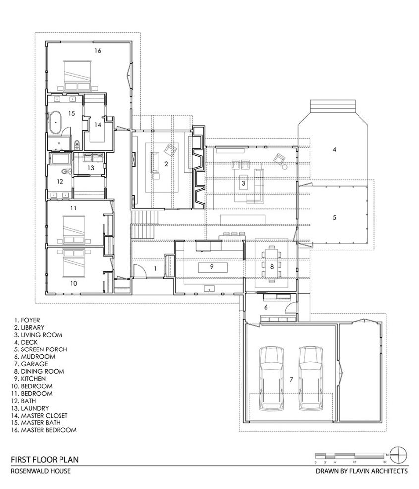 mid-century modern cad drawing floor plan