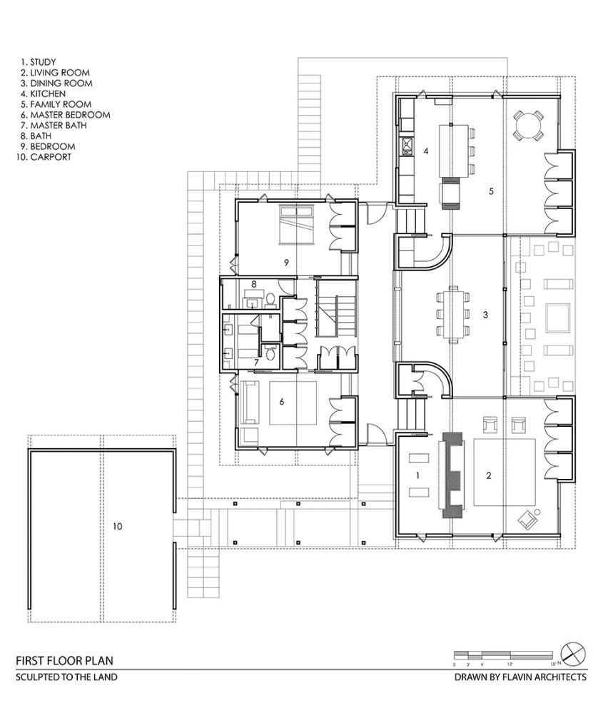 mid-century modern cad drawing floor plan